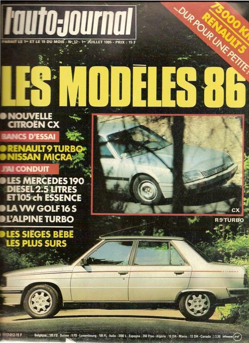 l 39 auto journal de juillet 1985 banc d 39 essai r9 turbo. Black Bedroom Furniture Sets. Home Design Ideas