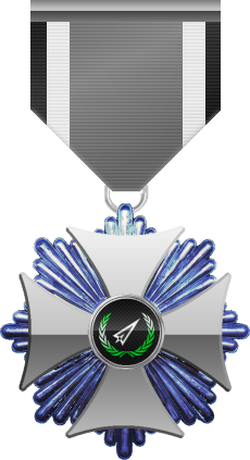 Crystal level of Silver Cross of the Silver Arrows - This award is given to a member who distinguished in a number of Community Events. Crystal level is the highest - six of six.